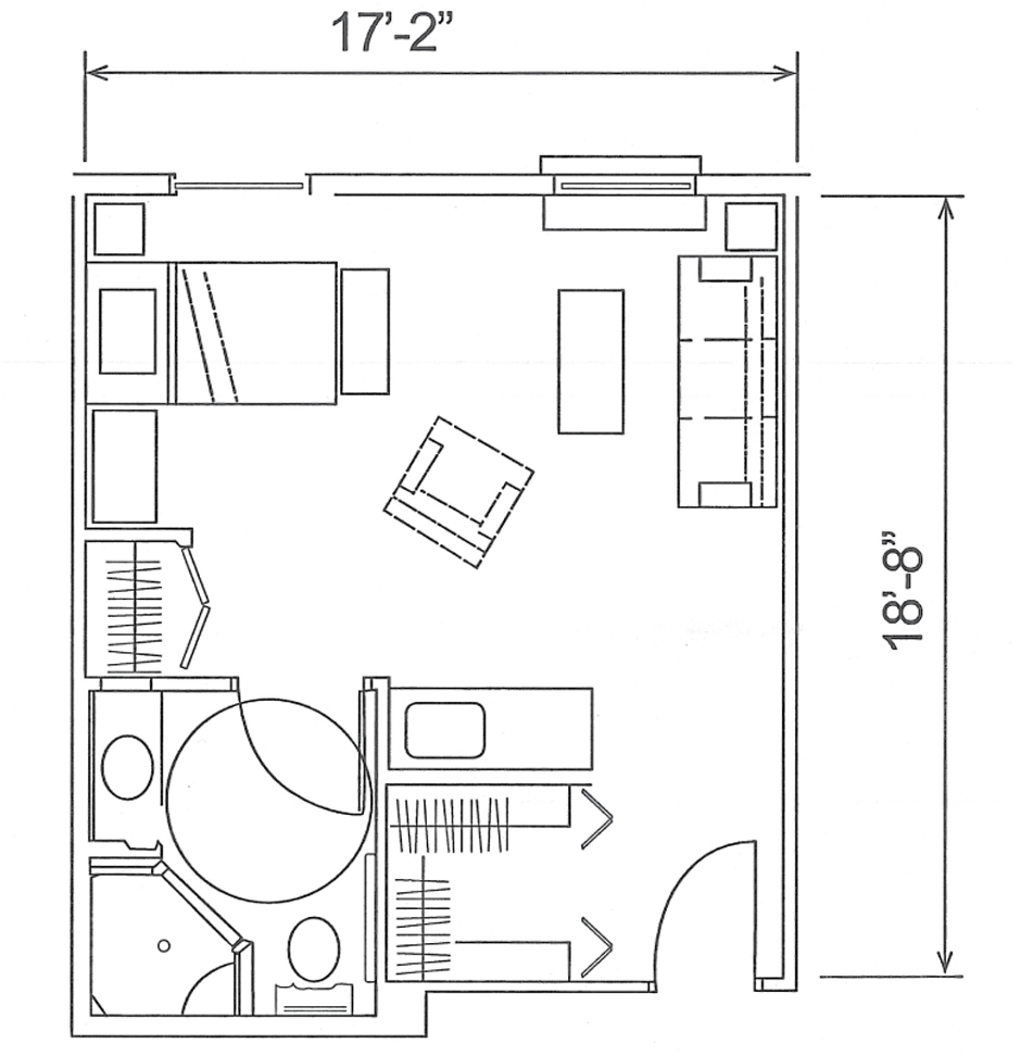 1 Bedroom Studio Deluxe - 330 sq. ft